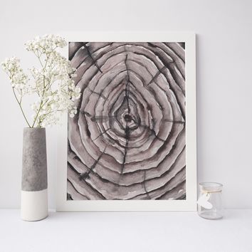 Nordic Wood Tree Growth Rings Watercolor Painting Wall Art Print or Canvas