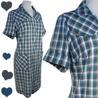 Dress Vintage 50s 60s Blue Plaid Check Cotton HOUSE Dress XXL 1X Plus Western Pockets