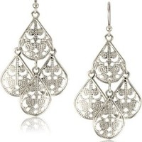 1928 Jewelry Silver-Tone Filigree Chandelier Earrings