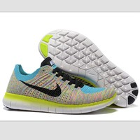 Nike free RN flynit running sneakers Sport Casual Shoes Sneakers Blue-yellow