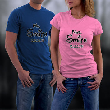 Couples Shirts, Wedding or Anniversary Personalized Couple Shirts. Mr and Mrs Match TShirts