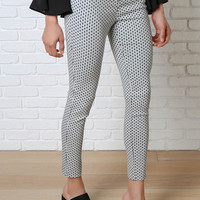 White Diamond Print Skinny Pants-FINAL SALE