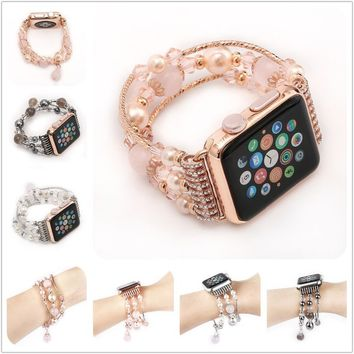 New Chic Women's Band Agate Beads Stretch Bracelet Watch Band Strap for iWatch Series 1/2 38mm/42mm
