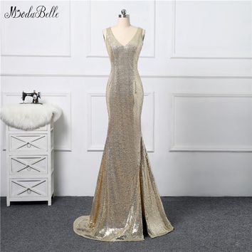 Modabelle Glitter Golden Mermaid Sequin Prom Dress 2017 Slit Sparkly Criss-Cross Back Evening Party Gowns Vestido Formatura