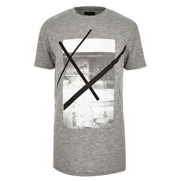 Grey Abstract Graphic T-Shirt by River Island