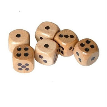 16mm Lot of 6 Wooden Dice Board Games Bar Party Toy (set, d6, pips, wood)