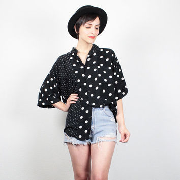 Vintage 80s Shirt Black White Polka Dot Blouse Draped Mixed Print Shirt 1980s New Wave Collared Shirt Button Down Oversized Top M L Large XL