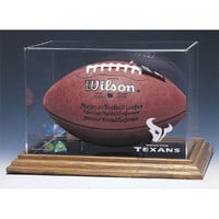 Houston Texans NFL Football Display Case (Wood Base)