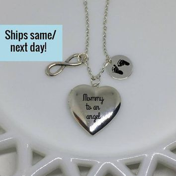 Mommy To An Angel, Silver Locket, Silver Memorial Locket, Memorial Jewelry, Memorial Locket, Heart Locket, Engraved Heart Locket