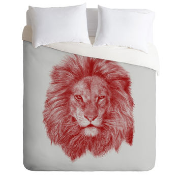 Eric Fan Red Leo Duvet Cover