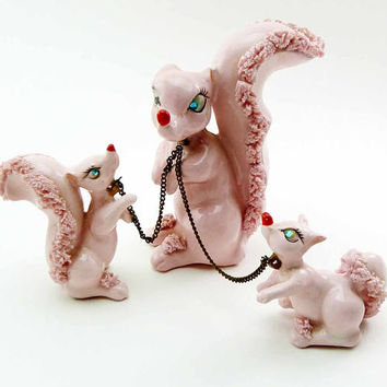 KITSCHY Kreiss & Company 1940s Pink Spaghetti Porcelain Squirrel Family Japan Blue Rhinestone Eyes Metal Leash Hand Painted