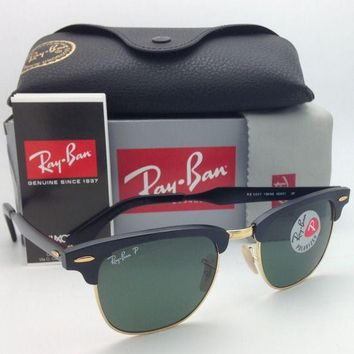 Polarized Ray-Ban Sunglasses CLUBMASTER RB 3507 136/N5 49-21 Black &Gold w/Green