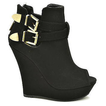 Dreamer23 Black By Bamboo, Peep Toe Curve Wedge Platform Gaga Ankle Bootie Pump