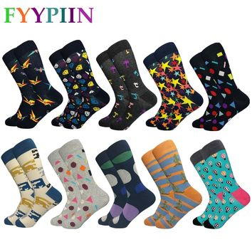 Socks Men Real Rushed Sokken 2018 10 Pairs/lot Men's Funny Colorful Combed Cotton Socks Argyle Dozen Pack Casual Happy Wedding