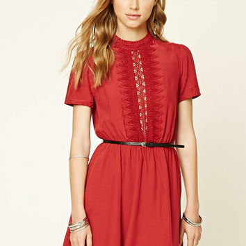 Crochet-Paneled Dress