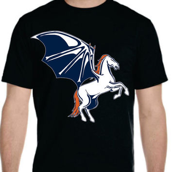 Bat Horse Broncos T-shirt, One of a kind special design of mine, youth men women, perfect gift  from denver colorado