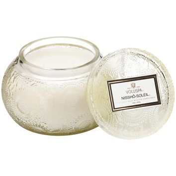 Chawan Bowl 2 Wick Embossed Glass Candle Nissho Soleil