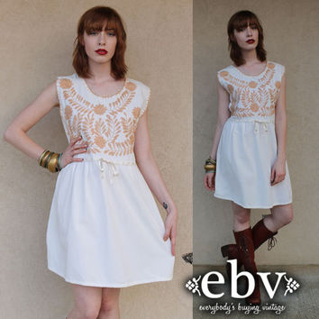 Vintage 70s Cream Mexican Embroidered Hippie Boho Mini Dress Tunic Top L XL Plus Size