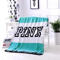 Mint Victoria Secret Blanket Manta Fleece Blanket Throws on Sofa/Bed/Plane Travel Plaids