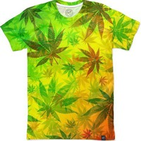 Marijuana Leaves on Rasta Colors Women's T-Shirts by bluedarkArt | Nuvango