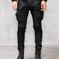Waxed Black Gas Mask Cargo Damage Skinny Jeans