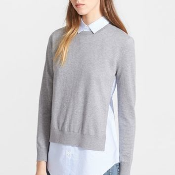Women's Theory 'Deverlyn' Cashmere & Cotton Layered Look Sweater,