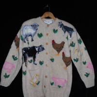 Vintage HANDKNIT Wool button up Oversized Sweater    Animals Farm Winter Ugly Beautiful