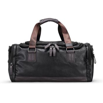 Sports gym bag Men's PU Leather Gym Bag s Duffel Travel Luggage Tote Handbag for Male Fitness Men Trip Carry ON Shoulder Bags XA109WA KO_5_1