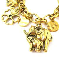 Mother and Baby Elephant Shaped Floral Charm Bracelet in Gold