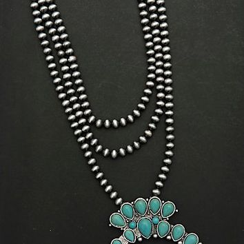 Wired Heart Silver Beaded Multi Strand with Turquoise Squash Blossom Pendant Necklace