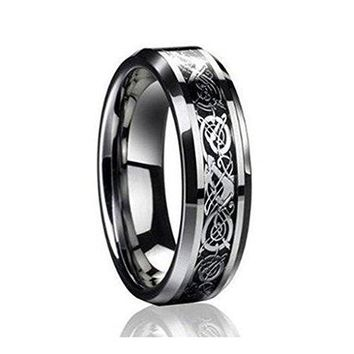 6MM Dragon Design Tungsten Carbide Wedding and Engagement Bridal Band Ring Sets