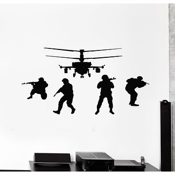 Vinyl Wall Decal Soldiers Helicopter Military Army Weapons Stickers Mural (g1284)