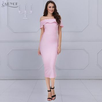 ADYCE New Pink Off The Shoulder Strapless Bandage Dress Red Bodycon Elegant Luxury Noble Party Dress Women Bodycon Dress