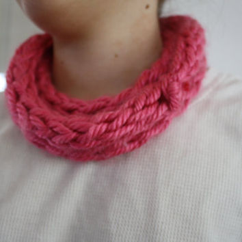 Finger Knit Infinity Scarf by LuKayDesigns on Etsy