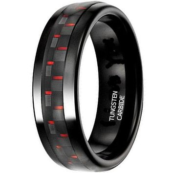 """CERTIFIED 8mm """"I Love You """" Red & Black Carbon Fiber Tungsten Engraved Unisex Wedding Ring"""