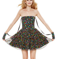 BJ POSY CRINKLE CHIFFON MIXUP MINI TIERED DRESS - Betsey Johnson
