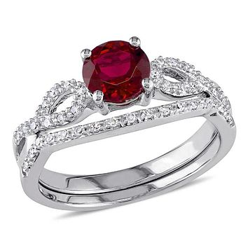 6.0mm Lab-Created Ruby and 1/8 CT. T.W. Diamond Twist Shank Bridal Engagement Ring Set in 14K White Gold