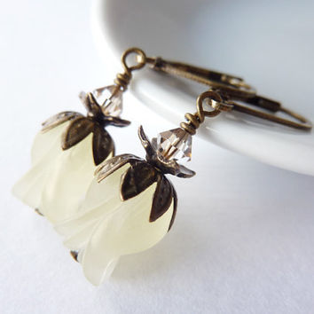 Yellow Tulip Earrings Pale Lemon Lucite Flower Earrings