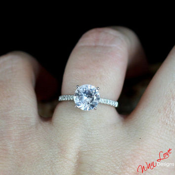 Sample Sale Ready to ship-White Sapphire & Diamond Round Solitaire Engagement ring 2ct 8mm Size 6.5-Wedding-Anniversar7