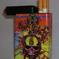 Cigarette Case Red Skull Cross Built on Lighter Holder
