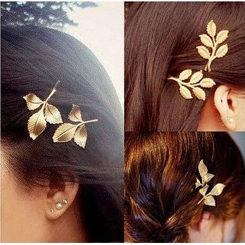 Hot Sale Cute Leaf Personality Exaggerated Hair Clip Headwear Accessories I12172-1