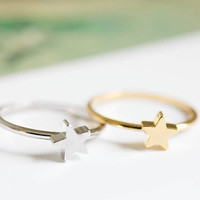 Tiny star ring. Silver star ring. Gold star ring. small gift. gift for her. Thin ring. love ring (US size 6.5)