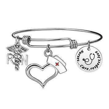 iJuqi Nurse Bangle Bracelet Gifts  Women Girl Expendable Caduceus Angle Charm Bracelet Nursing Jewelry Nurse Bracelet Christmas Birthday Graduation Gift Stainless Steel