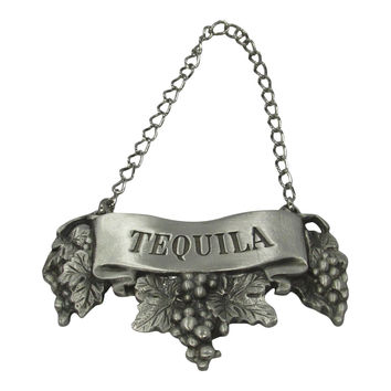 Embossed Pewter Liquor Bottle or Decanter Label Tequila