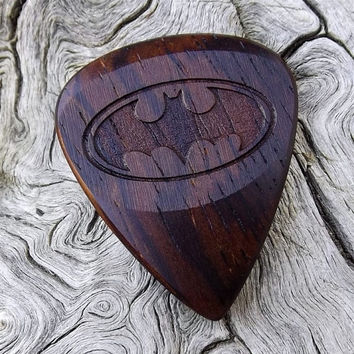 Handmade Cocobolo Rosewood Premium Guitar Pick - Laser Engraved - Actual Pick Shown - Engraved Both Sides