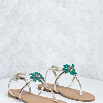 Metallic Palm Tree Sandals