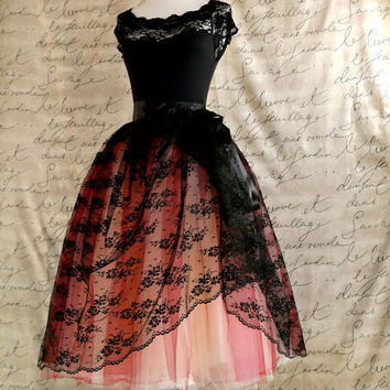 Black lace and red  tulle tutu skirt. Mlle. Chantilly Lace. French black chantilly lace over lined tutu skirt.