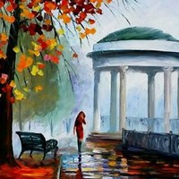"FOGGY PARK —  Oil Painting On Canvas By Leonid Afremov. Size: 72""x48"" HUGE SIZE"