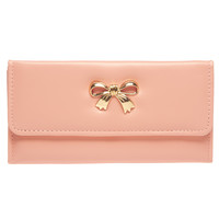 Metal Bow Fold Wallet | Wet Seal