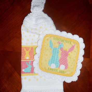 Easter Hanging Towel, Bunny Kitchen Towel, Pot Holder, Crochet